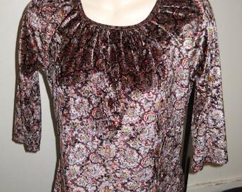 Vintage Girls Lightweight PAISLEY Long Sleeve VELVET Top