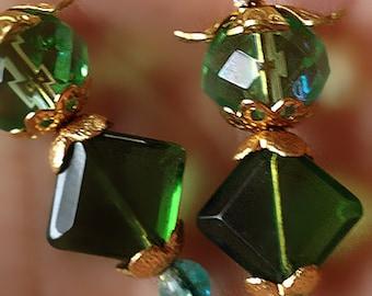 Whimsical green fairytale drop earrings
