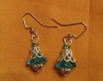 Light blue bell flower bead, silver filigree layerl, silver finishing bead, pierced earrings