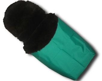 Waterproof Sheepskin Footmuff - Green