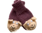 Baby Hand Mittens, Teddy Bear Mittens, Baby Knitwear for 6 to 9 months Chocolate Brown and Camel