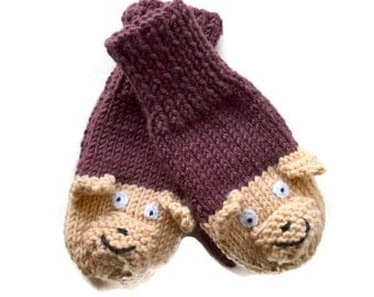 Baby Hand Mittens, Teddy Bear Mittens, Baby Knitwear for 6 to 9 months Chocolate Brown and Camel, Custom Order