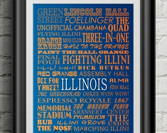 University of Illinois Fighting Illini Subway Scroll Art Print Wall Decor Typography Inspirational Poster Motivational