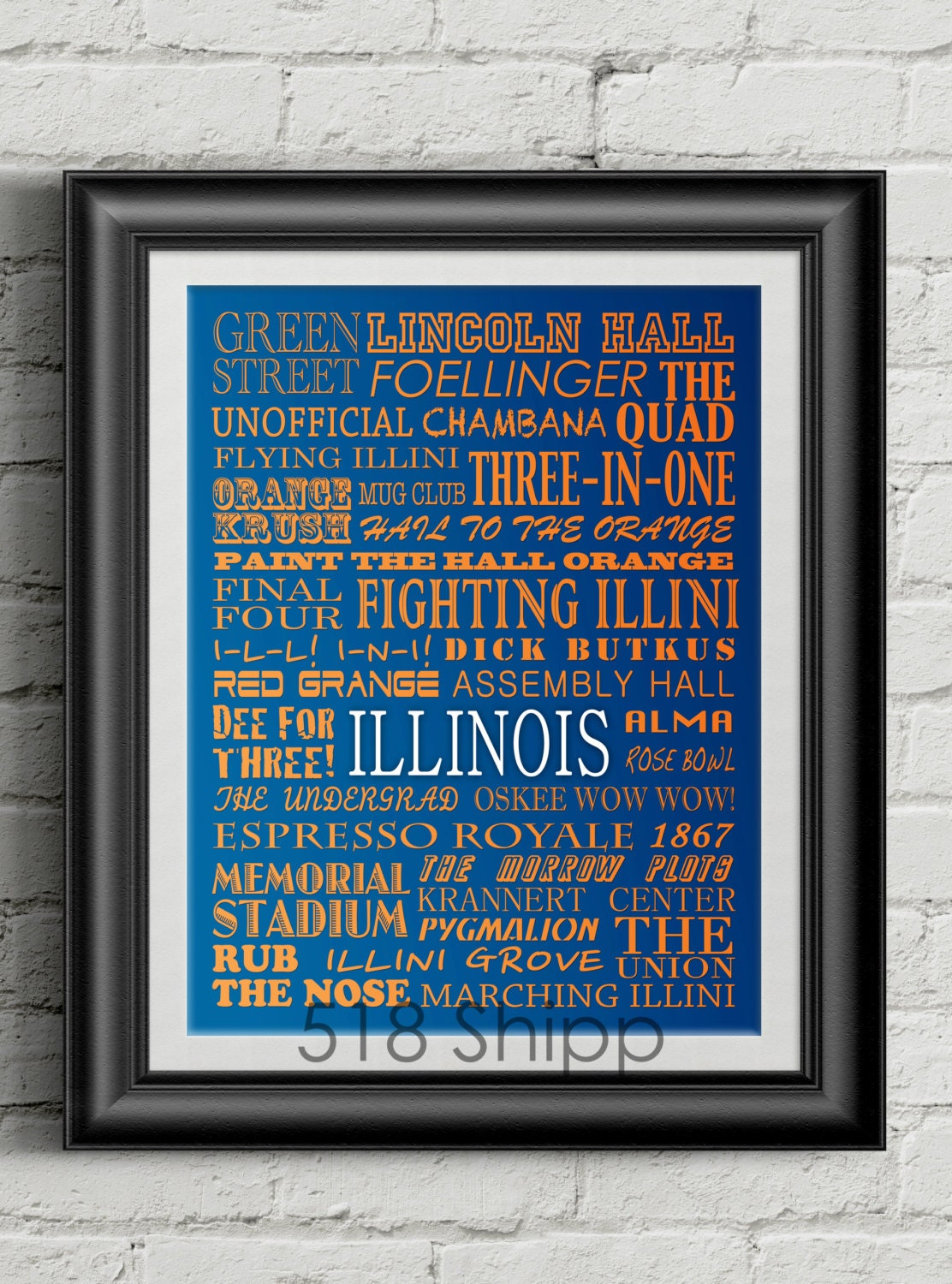 university of illinois fighting illini subway scroll art print. Black Bedroom Furniture Sets. Home Design Ideas