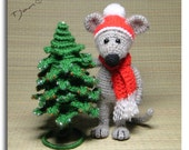 Mouse and Christmas Tree 6 in, Crochet toy decor, OOAK, Stuffed Animals, Amigurumi, Made to order
