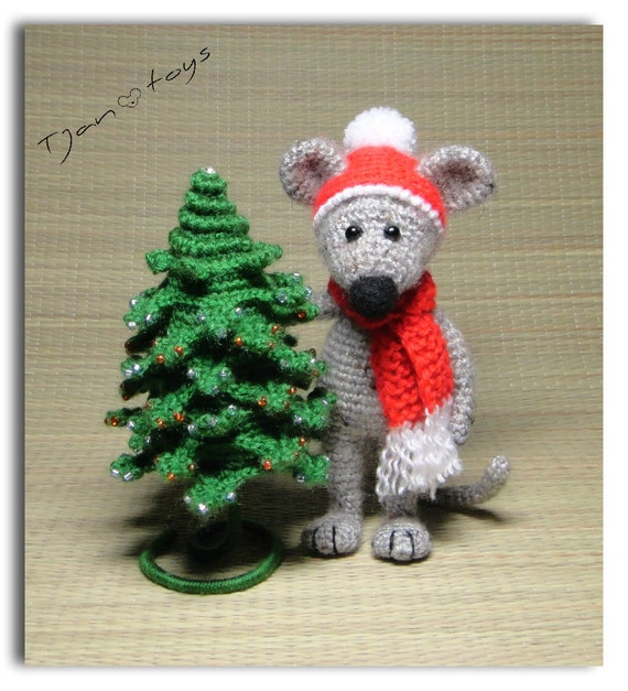 Mouse And Christmas Tree 6 In Crochet Toy Decor Ooak