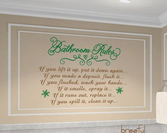 "Bathroom Rules Wall Art - 24"" x 18"" 