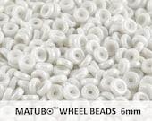 10 g Chalk White Luster Czech Glass Wheel Beads 6 mm (8968)