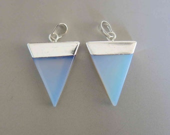 Polished Opalite Triangle With Silver Cap Pendant - B992