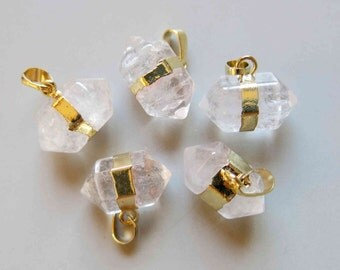 Polished Natural Quartz Double Terminated Point Pendant With Golden Bail - B593