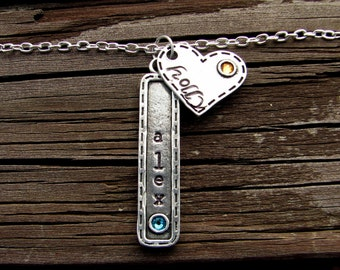 Long Bar Necklace- Birthstone Jewelry- Birthstone Charm Necklace- Gift for Mom- Vertical Bar Necklace- Handstamped- Crystal Accent- Pewter