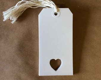 White Luggage Tags with Scallop Heart Punched Detail / Labels / Place Name Cards / Wishing Tree Tags - Pack of 10