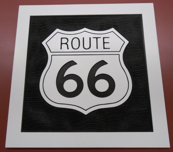 """3D Engraved Route 66 Plaque. This measures Approx. 25"""" X 25"""" is hand painted and includes the hardwood frame as shown."""