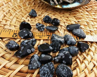 Snowflake Obsidian ~ 1 medium Reiki infused tumbled crystal
