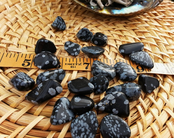 Snowflake Obsidian ~ 1 medium Reiki infused tumbled crystal