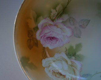 vintage Germany shabby chic yellow pink roses serrving bowl