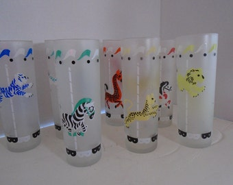 Vintage Set of Seven Carousel Tumblers