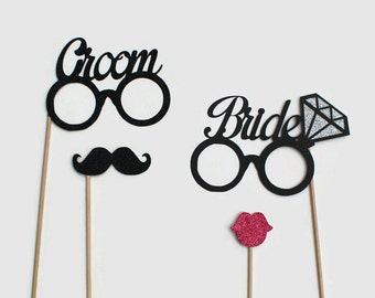 Wedding Photo Booth Props - Bride Glasses With Beautiful Glitter Diamond and Glitter Grooms Glasses