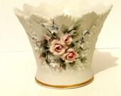 Vintage Lefton Hand Painted Floral Vase with Gold Rim, Lefton Trinket Candy Dish, Shabby Cottage Chic, Home Office Bedroom Decor