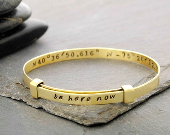 latitude bracelet, latitude longitude, Bracelet, Bangle, Jewelry, Custom Jewelry, Handstamped Bracelet, Friend Gift, b252BR