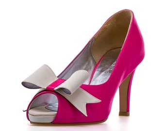 Fuschia Pink Satin Wedding Heels, Fushcia Satin Wedding Heels. Custom Made Wedding Heels
