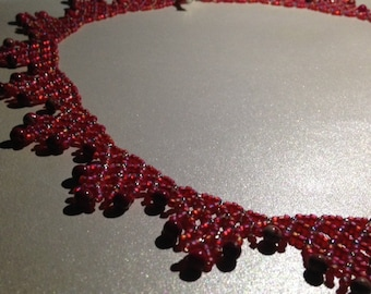 Bright Cherry Red beaded necklace.  Jasper Gemstones