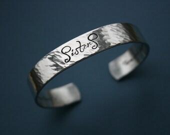 Hammered Secret Message Cuff Bracelet - Daniela Font - Handstamped