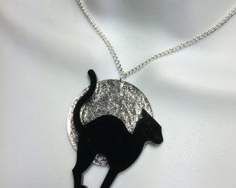 dramatic moon & cat laser cut acrylic necklace