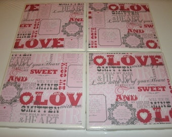 Valentine Tile Coasters, LOVE, Holiday, Home Decoration, Kitchen, Office, Livingroom, Dorm, 4 pc set