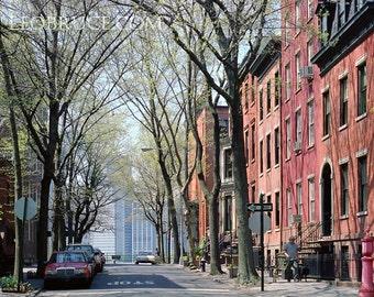 Print, Urban Landscape, Brooklyn Heights, Cranberry Street, New York City USA, April 2008