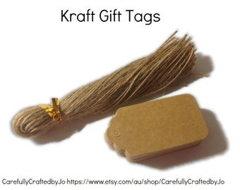 25,50,100,150 Medium Kraft Gift Tags Die Cut & Twines - DIY Gift Tags -Wedding, baby shower favours,gift tags,goodie bag tags, price tags