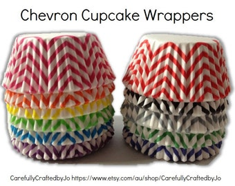Set of 50,100 - Chevron Cupcake Liners - Standard Size Cupcake Wrappers - Baking Cups/Muffin Cups/Cupcake Cups - Select Your Colour