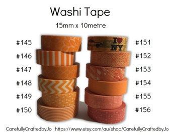 Washi Tape - Orange - Washi Tape - 15mm x 10 metres - High Quality Masking Tape