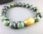 Unisex Chakra Bracelet Kambaba Jasper Heart Chakra Bracelet Dark Green Mala Stretch Bracelet Yoga Bracelet Healing Crystals Energy Jewelry
