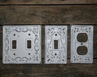 3 piece set - Fleur De Lis Light Switch Covers / light switchcovers / electrical covers  / outlet covers / shabby chic / distressed