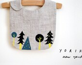 Forest bib | Navy + Yellow | gray linen