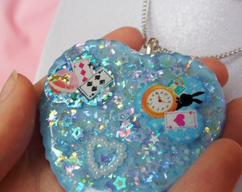 Resin Tea Party Necklace: RESIN ADVENTURES Blue Alice in Wonderland Resin Necklace