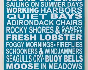 Favorite Things About Maine Subway Style Poster