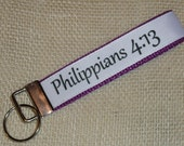 Philippians 4:13 Key Fob Wristlet - I Can Do All Things Key Fob Wristlet - Christian Key Chain - Faith Key Chain