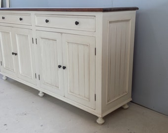 Wonderful Dining Room Server / Solid Wood Buffet / Painted Chic Sideboard