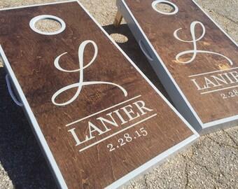 Dark Walnut Stained And Grey Sided Custom Personalized Cornhole Board Sets