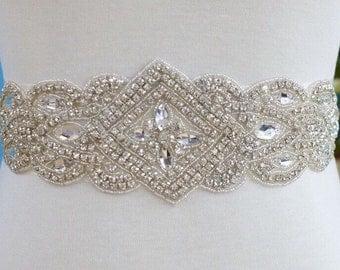 Rhinestone applique-- 1 rhinestone applique-- bridal, headband, enbellishment