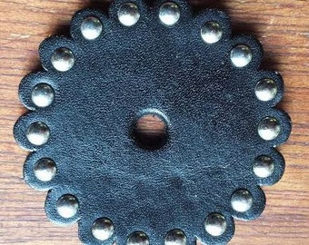 Leather Rosette with Nickel Studs & Scalloped Edge