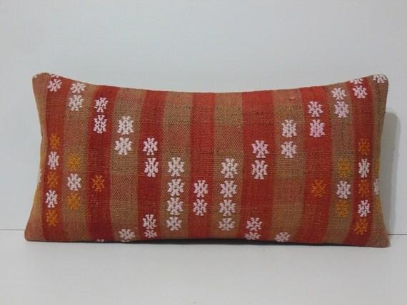 Extra Long Throw Pillows : Handwoven orange lumbar pillow floral by DECOLICKILIMPILLOWS