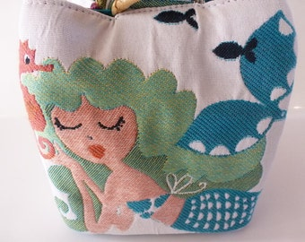 Mermaid Trio Bag - 100 percent upholstery weight cotton - lagoon blue dupioni silk - natural bamboo rings - handy wrist strap - adorable!