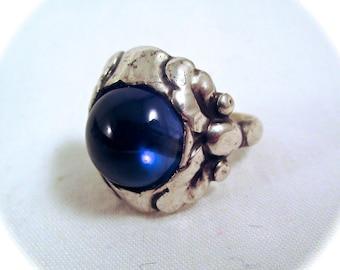 Vintage GEORG JENSEN RING Rare 830 Sterling Silver Blue Moonstone Ring Size 6
