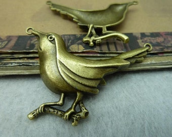 5pcs 20x37mm Antique Silver Bird Woodpecker Connectors Pendants Jewelry Findings Wholesale AC6444
