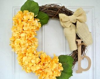 Monogram Peach Hydrangea Front Door Wreath with Burlap Bow