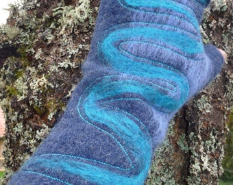 Mittens with thumb, fingerless, 100 % boiled wool navy-blue and turquoise