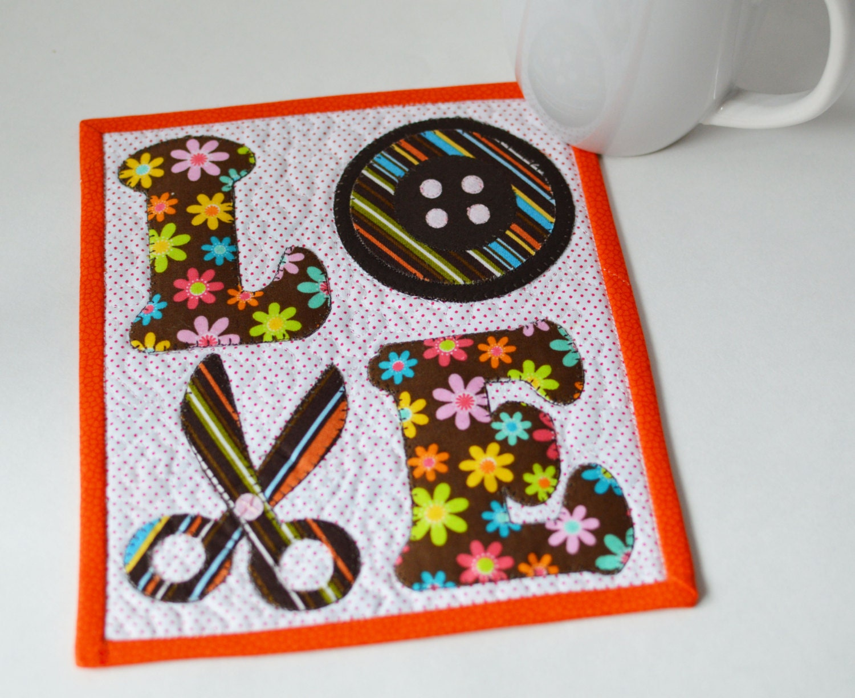 Mug Rug Pattern Love Sewing Mug Rug Pattern Instant Digital